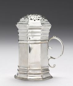 Caster, c. 1720, fabricated by Andrew Tyler (American, 1692-1741) silver, with handle. © Cleveland Museum of Art.
