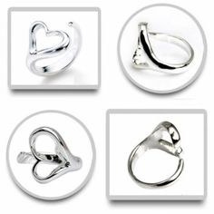 Exquisite 925 Silver Plated Heart Style Adjustable Ring Diameter