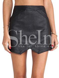 Negro asimétrico PU falda de cuero 13.79 Vestido Asimétrico 131d23d62b7b