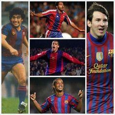 Maradona, Rivaldo, Ronaldinho, Lionel Messi, Romario • Świetni piłkarze z numerem 10 na koszulce w FC Barcelonie • Zobacz zdjęcie >> #barca #fcbarcelona #barcelona #football #soccer #sports #pilkanozna