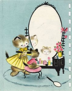 Vintage Hallmark birthday card, from about 1954, illustrated by Vivian Trillow Smith - first inside page of card