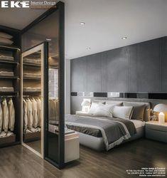 hotel bedroom Thit k ni tht bit th Lake View City qun 2 din tch - Wardrobe Design Bedroom, Modern Bedroom Design, Home Room Design, Interior Design Kitchen, Dressing Room Design, Bedroom Layouts, Suites, Deco Design, Luxurious Bedrooms