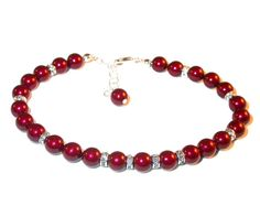 BORDEAUX RED Pearl Bracelet Sterling Silver by CharminglyYoursToo