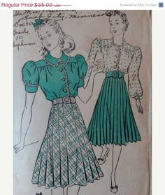 20% Off Summer Sale 1930s/1940s New York Pattern #1345 Dress with Ruffle Trim and Pleated Skirt Size 32 Bust