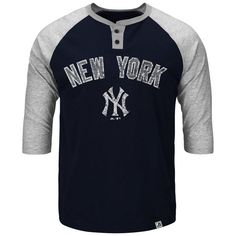 New York Yankees Majestic Big & Tall Force Play Henley Raglan 3/4-Sleeve T-Shirt - Navy Blue - $47.99