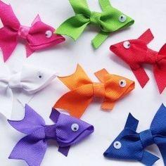 fish ribbon for little girl barrets.