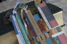 Bookmark favours made by colour copying book spines, adding fabric and papers Bat Mitzvah Decorations, Bookworm Party, John Berger, Wrapping Paper Crafts, Book Spine, Party Themes, Party Ideas, Book Themes, Vintage Books