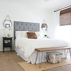 I love this room update by @whitneyhoulin and the bench at the end of her bed would be such a fun DIY!! What do you love about it?  Get featured use #imaremodelaholic