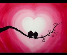 We host painting events at local bars. Come join us for a Paint Nite Party! Easy Canvas Painting, Heart Painting, Easy Paintings, Diy Painting, Canvas Art, Couple Painting, Valentines Art, Valentine Cards, Oil Pastel Art