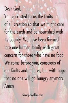 Dear God, You entrusted to us the fruits of all creation so that we might care for the earth and be nourished with its bounty. We have been formed into one human family which great concern for those who have no food. We come before you conscious of our faults and failures, but with hope that no one will go hungry anymore. Amen.