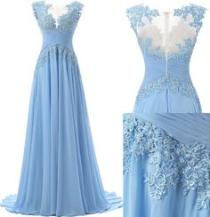 Long Prom Dresses,Fashion A-line Prom Dress,Scoop Sweep Train Chiffon Sleeveless Light Blue Prom/Evening Dress