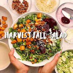This Fall Harvest Salad is inspired by the seasonal vegetables that are popular in autumn - including kale, sweet potatoes and beets tossed in a tahini dressing! Salade Healthy, Healthy Soup, Healthy Salads, Healthy Eating, Healthy Lunches, Winter Salad Recipes, Fall Recipes, Kale Sweet Potato Salad, Sweet Potato Side Dish