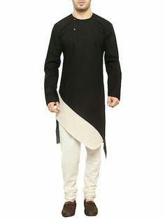 black and white cross pattern qurta Nigerian Men Fashion, Indian Men Fashion, Mens Fashion Suits, Men's Fashion, Gents Kurta Design, Boys Kurta Design, Kurta Pajama Men, Kurta Men, Mens Sherwani