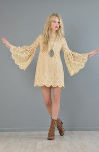 vtg 70s CROCHET lace cutout scalloped BELL SLV hippie boho festival mini dress | eBay