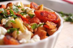 Roasted carrots & parsnips with goat cheese