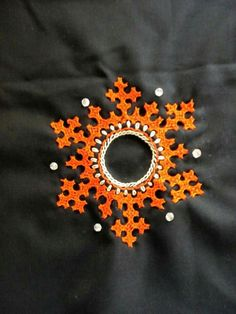 Kutch work with ornge thread around a mirror Embroidery On Kurtis, Hand Embroidery Dress, Kurti Embroidery Design, Embroidery Works, Indian Embroidery, Hand Embroidery Stitches, Hand Embroidery Designs, Embroidery Techniques, Beaded Embroidery