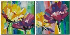 Flores - Pareja | Pinturas de arte abstracto y...
