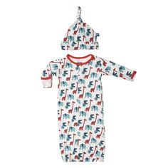 Kickee Pants Print Layette Gown Converter and Knot Hat Set in Natural Stuffed Animal Our sweet Layette Gown converts into a Coverall in a snap! This outfit grows with your child, and will keep your little one snug and cozy. Our Layette Gown Converter comes with a matching hat, what could be better?