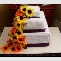 Wedding towel cake for a shower.
