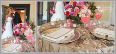 Chrissy + Martin: I loved that Chrissy & Martin had champagne with great use of pink accent colors!  Great floral by Akimee Designs, Champagne Taffeta Tablecloth by A Classic Party Rental, Menu Cards by JA Alexandria, Floral by Akimee Designs, Charger plates, napkins, candles, glassware and flatware by Ritz Charles, Pink lemonade in sugar rimmed glass with stir stick.  So fun! #Indy #Wedding #Details
