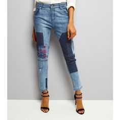 New Look Influence Blue Patch Work Skinny Jeans (£30) ❤ liked on Polyvore featuring jeans, duck egg, patch jeans, skinny fit denim jeans, denim jeans, blue jeans and blue skinny jeans