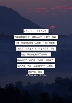 """""""You'll drive yourself crazy trying to understand things that aren't meant to be understood. Sometimes you just need to accept and move on."""""""