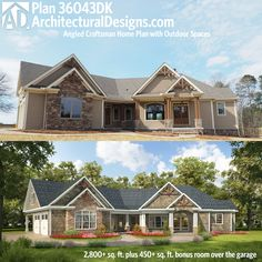 Architectural Designs Angled Craftsman House plan comes to life. 3 beds on the main floor plus a 4th if you build the bonus space over the garage. And great outdoor spaces in back. More photos. Ready when you are. Where do YOU want to build?