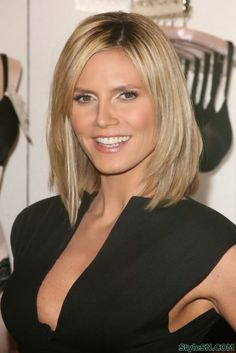 Heidi Klum Medium Bob Hairstyles with Layers 2014 with Layered Front and Wispy Ends Arrangement Medium Short Hair, Medium Hair Cuts, Short Hair Cuts, Medium Hair Styles, Curly Hair Styles, Medium Layered, Layered Bobs, Medium Blonde, Long Layered