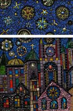 The Golden Dome, mosaic by Ilona Brustad. Love this, check out the lower buildings with imbedded small stones.