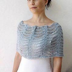 Silver Waves Loop Shrug, Cowl, Cape Crochet Pattern by Accessorise on Ravelry. Summer Crochet Pattern. Spring Crochet Pattern. Shrug Crochet Pattern. Cowl Crcchet Pattern. Ripple Crochet Pattern. Ripple Cowl Pattern