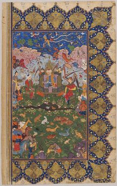 Solomon Enthroned with Angels, Beasts, and Demons, folio from a manuscript, 1575–90. Unknown Artist. Safavid period, AH 907-1145 / AD 1501-1732. Creation Place: Shiraz, Iran Opaque watercolor and gold on paper 42.5 x 26.5 cm (16 3/4 x 10 7/16 in.) Harvard Art Museums/Arthur M. Sackler Museum, The Norma Jean Calderwood Collection of Islamic Art ,2002.50.37 This folio is half of what was a double-page frontispiece depicting King Solomon on the right and Bilqis, the Queen of Sheba, on the left.