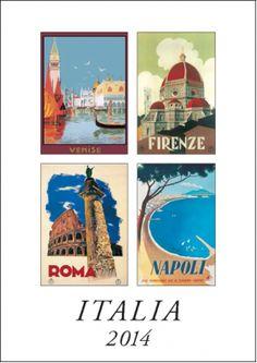 "Medium size ITALIA calendar with vintage posters of Italian cities, size 9.5"" x 13.5"""