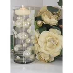 Pearl Wedding Centerpieces, Pearl Centerpiece, Centerpiece Decorations, Vases Decor, Flower Decorations, Water Beads Centerpiece, Centerpiece Flowers, Floating Flower Centerpieces, Centrepieces