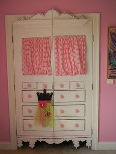little girl's room idea by Jack... I would paint current closet doors to make it look like a big beautiful piece of furniture