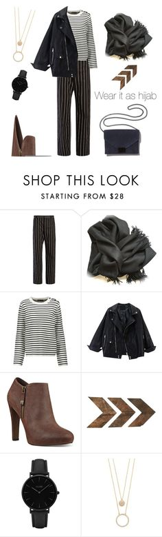 """Hijabi in Stripes"" by ellyyulyantikoswara on Polyvore featuring Balenciaga, Maje, Nine West, WALL, CLUSE, Kate Spade and Loeffler Randall"