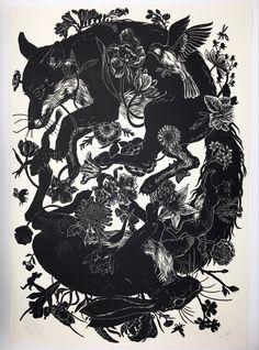 Art And Illustration, Black And White Illustration, Botanical Illustration, Stonehenge, Memento Mori, Sparrow Bird, Linoprint, Hare, Handmade Art