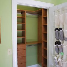 Small Closet Design. Like the shelves on the right side.