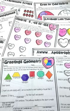 Valentine's Day No Prep Mini Unit for Second Grade is perfect for fun and engaging activities on Valentine's Day! Cover shapes, endings, even and odd, arrays, homophones, and much more!