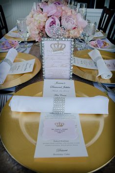Decorated table at a Royal Queen Birthday Party! See more party ideas at CatchMyParty.com!