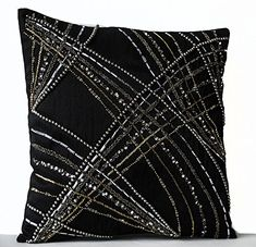 of July SALE Throw Pillow Covers in Black with by AmoreBeaute covers silk Black Throw Pillow Cover, Black Silk Decorative Pillow Cover, Beads Sequin Pillow, Geometric Pillow Covers, Modern Pillow Couch Pillow Covers, Modern Pillow Covers, Modern Pillows, Decorative Pillow Covers, Cushion Covers, Sequin Cushion, Sequin Pillow, Silk Pillow, Bolster Pillow