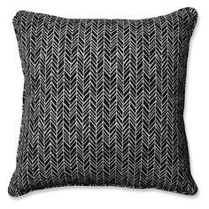 Pillow Perfect Herringbone Indoor / Outdoor Throw Pillow - Set of 2 Black - 609829