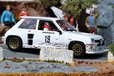 FlySlot Cars 037304. Renault 5 Turbo. RallySprint de Montecalvo 1985. Carlos Sainz/Antonio Boto. #slot #slotcar #carlossainz Slot Cars, Rally, Basement, Racing, Dreams, Collection, Renault 5, Cars, Scale Model