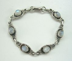 Sterling Moonstone Bracelet VINTAGE JEWELRY  6 Moonstones 7.5 inches long by PASTIMEJEWELS on Etsy