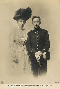 Queen Maria Christina with her son, King Alfonso XIII of Spain