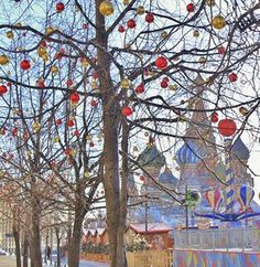 Baubles in trees during winter in Red Square, Moscow