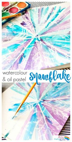 *Paint from center of snowflake outward; dampen paper with sponge before painting!  *Watercolour and Oil Pastel Resist Snowflake Kids Art - This watercolour and oil pastel resist Snowflake art idea for kids is perfect for the Winter season. Children will love discovering the secret snowflake, while playing with and mixing the watercolour paints to create a pretty Winter scene.