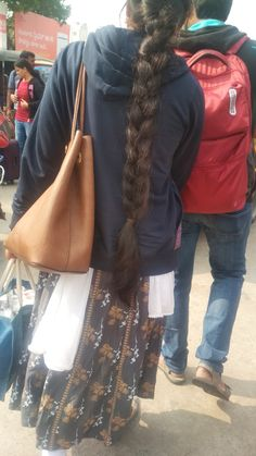 Pretty Hairstyles, Braided Hairstyles, Indian Long Hair Braid, Big Bun, Braids For Long Hair, Designer Dresses, Long Hair Styles, Tote Bag, Awesome