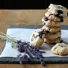 Easy Shortbread with Dried Lavender Flowers & Blueberries. Gluten Free and Vegan.