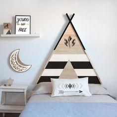 Cabecero de cama infatil tipi Sister Bedroom, Girls Bedroom, Boy Room, Kids Room, Diy Kids Teepee, Eco Furniture, Kids Blocks, Tribal Decor, Home Decor
