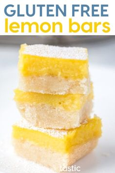 Free Lemon Bars recipe, perfect for beginners and experience gluten free bakers and NO MORE SOGGY CRUST! I promise! get my tips and step by step directions for making your own gluten free lemon bars with this foolproof gluten free baking recipe Dairy Free Lemon Bars, Gluten Free Lemon Bar Recipe, Best Gluten Free Desserts, Gluten Free Cookie Recipes, Gluten Free Cookies, Gf Recipes, Recipies, Dairy Free Margarine, Dairy Free Options